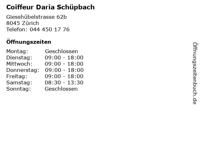 Coiffeur Daria Schüpbach in Zürich: Adresse und Öffnungszeiten