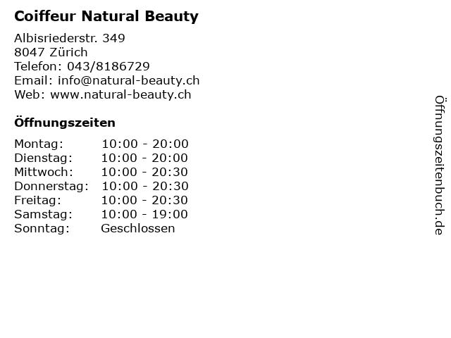 Coiffeur Natural Beauty in Zürich: Adresse und Öffnungszeiten