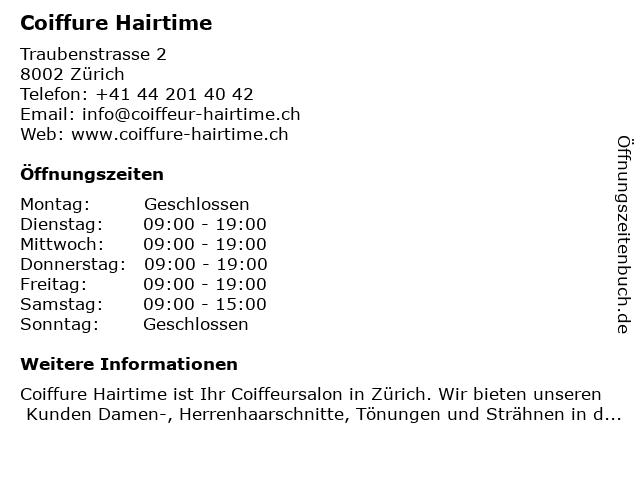 Coiffure Hairtime in Zürich: Adresse und Öffnungszeiten