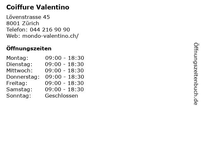 Coiffure Valentino in Zürich: Adresse und Öffnungszeiten