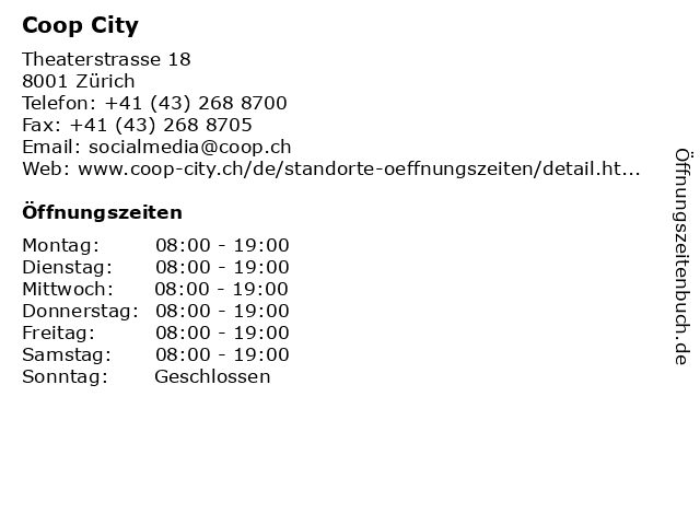 Coop City in Zürich: Adresse und Öffnungszeiten