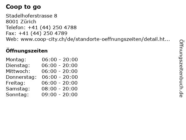 Coop to Go in Zürich: Adresse und Öffnungszeiten