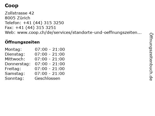 Coop in Zürich: Adresse und Öffnungszeiten