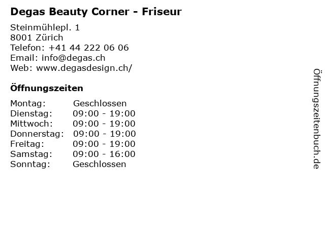 Degas in Zürich: Adresse und Öffnungszeiten