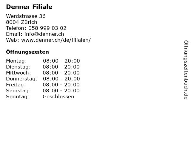 Denner AG Zürich in Zürich: Adresse und Öffnungszeiten