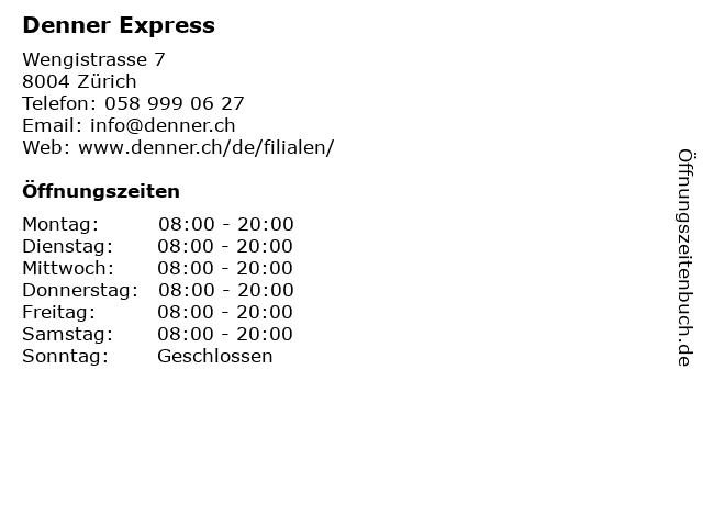 Denner AG in Zürich: Adresse und Öffnungszeiten