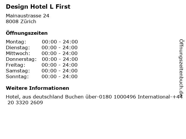 Design Hotel L First in Zürich: Adresse und Öffnungszeiten