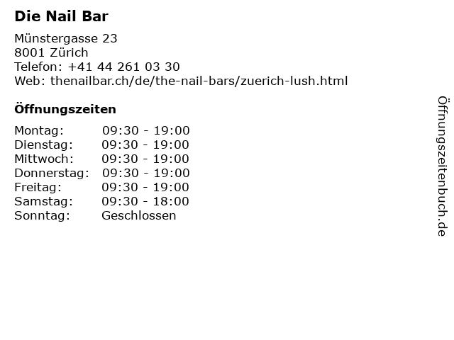 Die Nail Bar in Zürich: Adresse und Öffnungszeiten