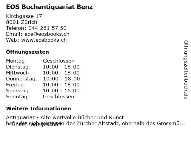 EOS Buchantiquariat Benz in Zürich: Adresse und Öffnungszeiten