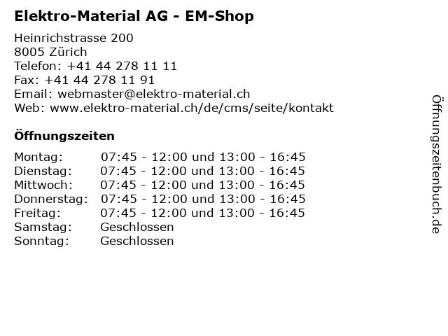 Elektro-Material AG - EM-Shop in Zürich: Adresse und Öffnungszeiten