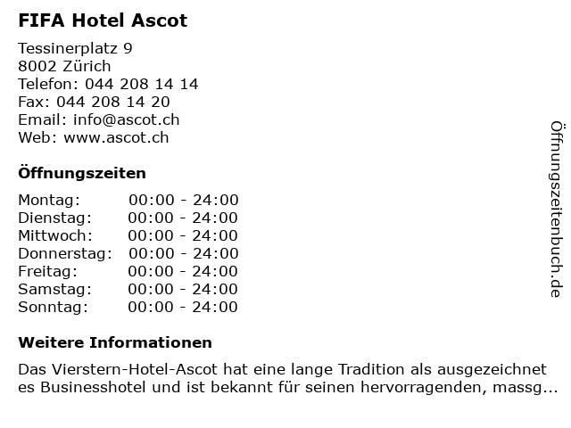 FIFA Hotel Ascot in Zürich: Adresse und Öffnungszeiten