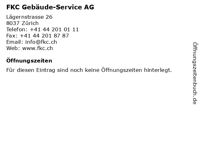 FKC Gebäude-Service AG in Zürich: Adresse und Öffnungszeiten