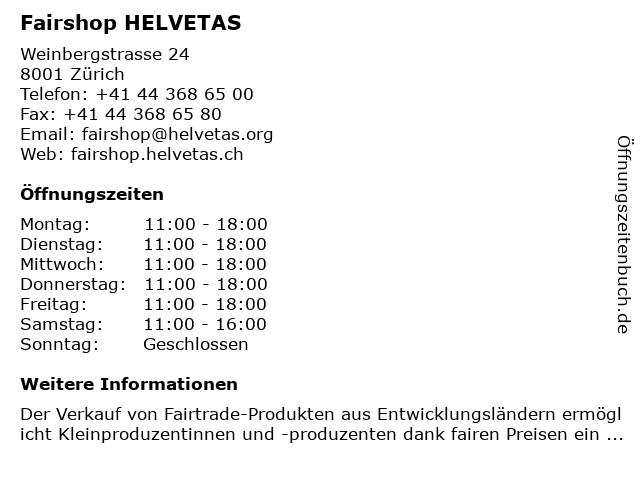Fairshop HELVETAS in Zürich: Adresse und Öffnungszeiten