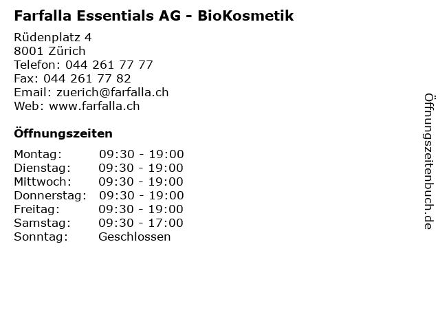 Farfalla Essentials AG - BioKosmetik in Zürich: Adresse und Öffnungszeiten