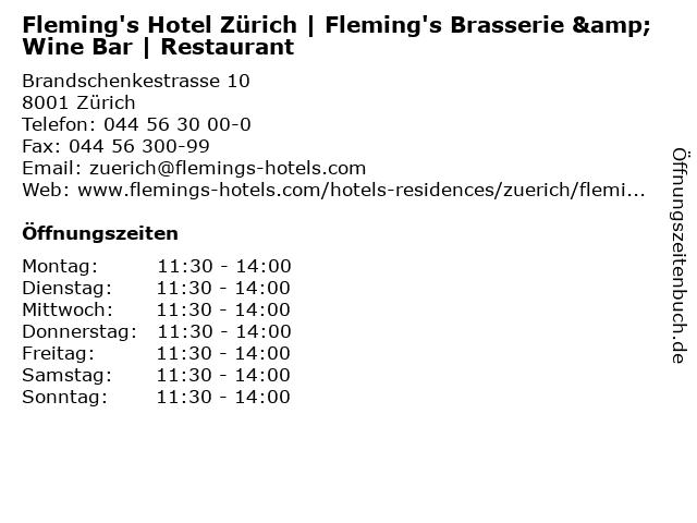 Fleming's Hotel Zürich   Fleming's Brasserie & Wine Bar   Restaurant in Zürich: Adresse und Öffnungszeiten