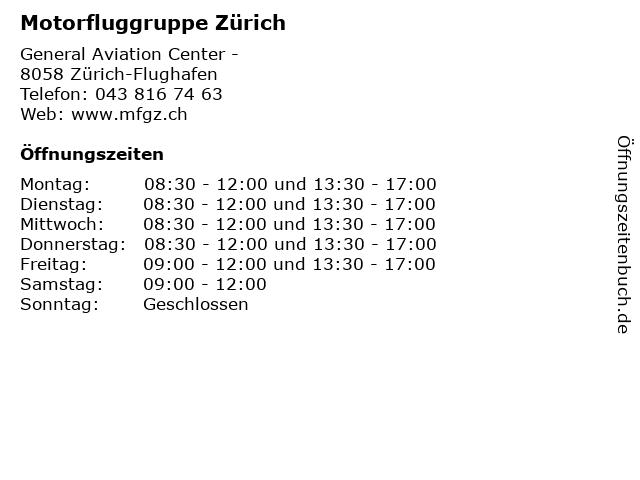 Motorfluggruppe Zürich in Zürich-Flughafen: Adresse und Öffnungszeiten