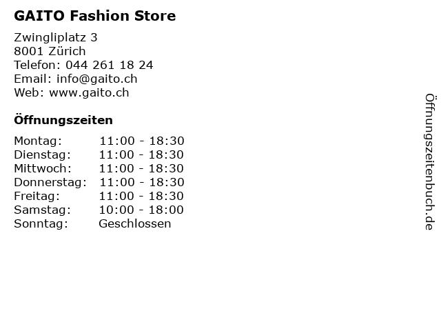 GAITO Fashion Store in Zürich: Adresse und Öffnungszeiten