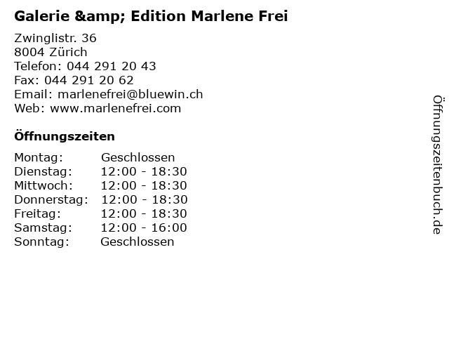 Galerie & Edition Marlene Frei in Zürich: Adresse und Öffnungszeiten
