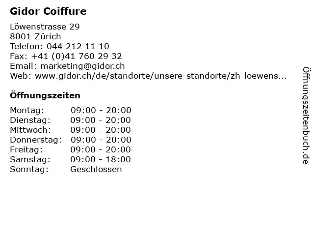 Gidor Coiffure in Zürich: Adresse und Öffnungszeiten