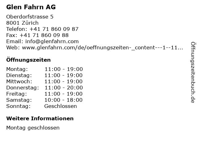 Glen Fahrn AG in Zürich: Adresse und Öffnungszeiten