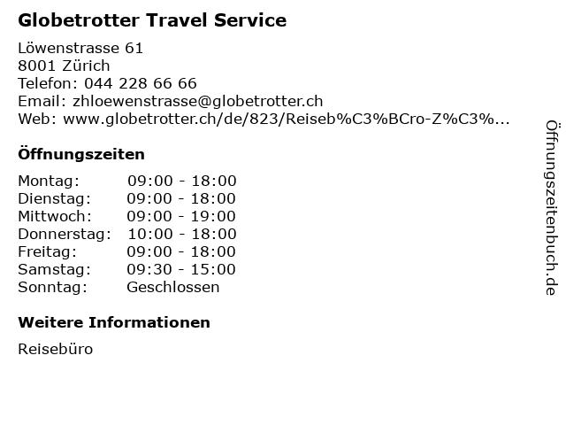 Globetrotter Travel Service in Zürich: Adresse und Öffnungszeiten