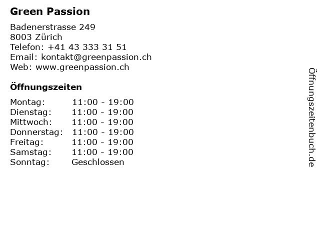 Green Passion in Zürich: Adresse und Öffnungszeiten