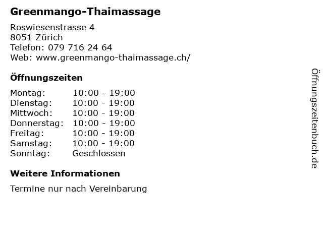 Greenmango-Thaimassage in Zürich: Adresse und Öffnungszeiten