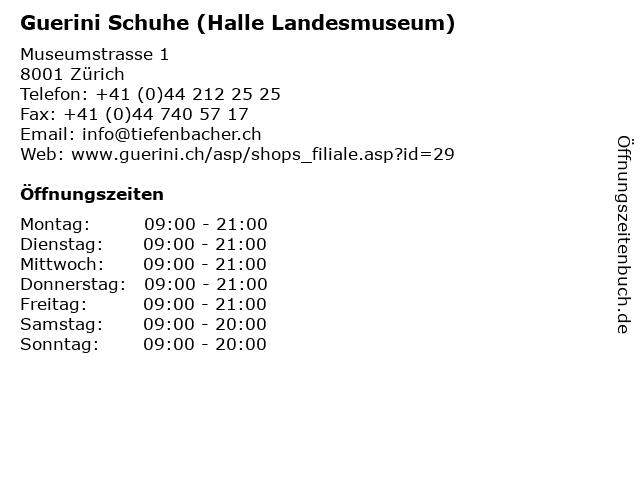Guerini Schuhe (Halle Landesmuseum) in Zürich: Adresse und Öffnungszeiten