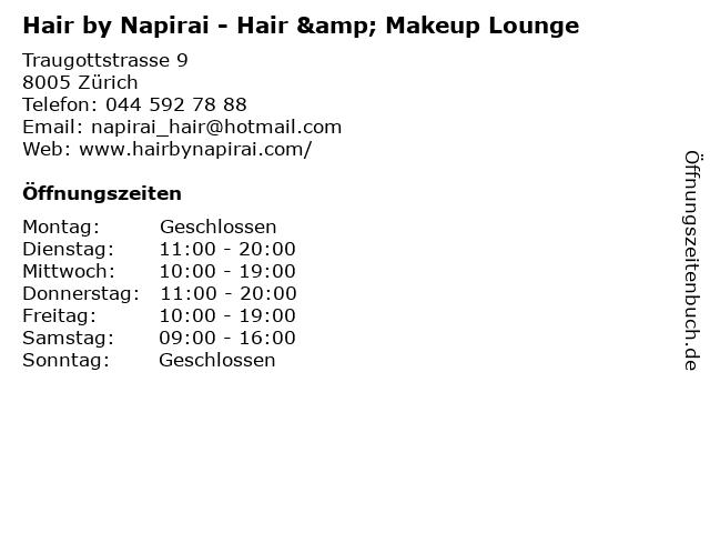 Hair by Napirai in Zürich: Adresse und Öffnungszeiten