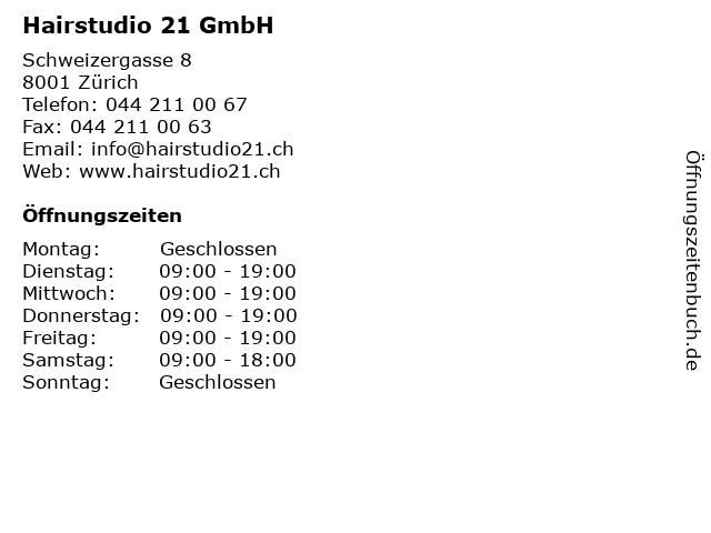 Hairstudio 21 GmbH in Zürich: Adresse und Öffnungszeiten