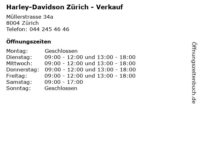 Harley-Davidson Zürich - Verkauf in Zürich: Adresse und Öffnungszeiten