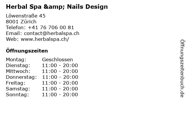 Herbal Spa & Nails Design in Zürich: Adresse und Öffnungszeiten
