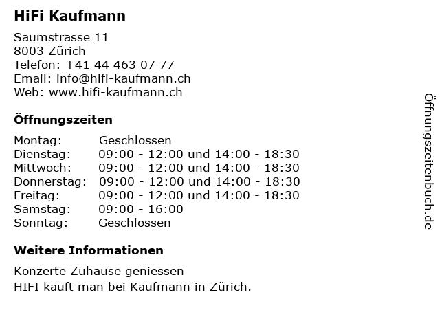 HiFi Kaufmann in Zürich: Adresse und Öffnungszeiten