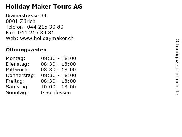 Holiday Maker Tours AG in Zürich: Adresse und Öffnungszeiten