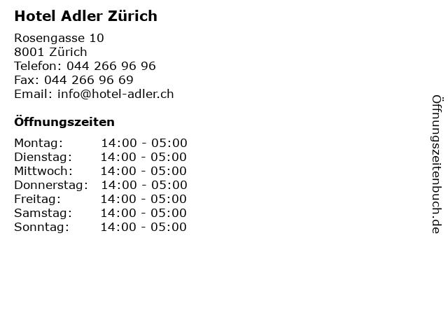 Hotel Adler Zürich in Zürich: Adresse und Öffnungszeiten
