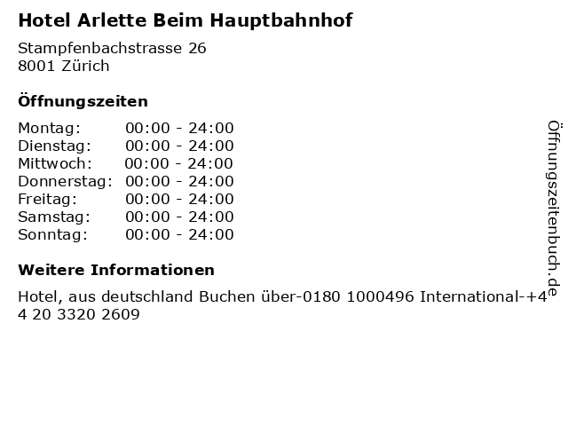 Hotel Arlette Beim Hauptbahnhof in Zürich: Adresse und Öffnungszeiten