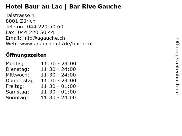 Hotel Baur au Lac   Bar Rive Gauche in Zürich: Adresse und Öffnungszeiten
