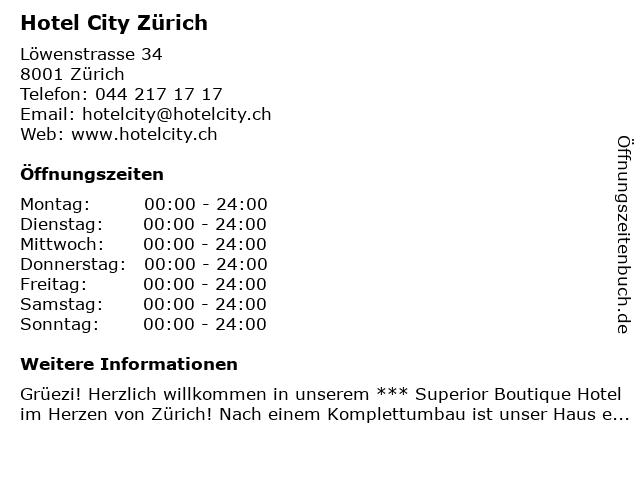 Hotel City Zürich in Zürich: Adresse und Öffnungszeiten