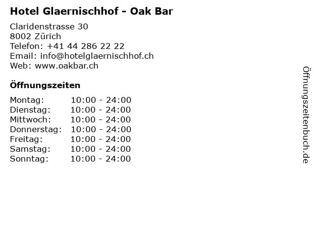 Hotel Glaernischhof - Oak Bar in Zürich: Adresse und Öffnungszeiten