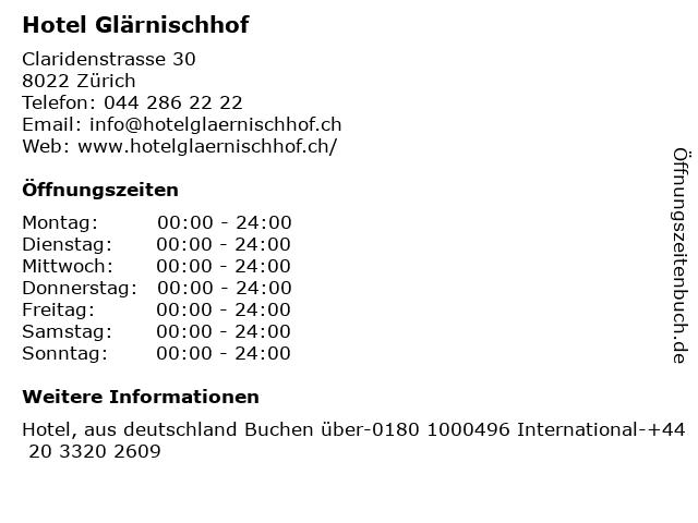 Hotel Glärnischhof in Zürich: Adresse und Öffnungszeiten