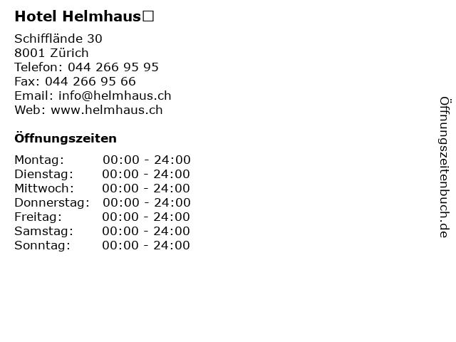 Hotel Helmhaus in Zürich: Adresse und Öffnungszeiten