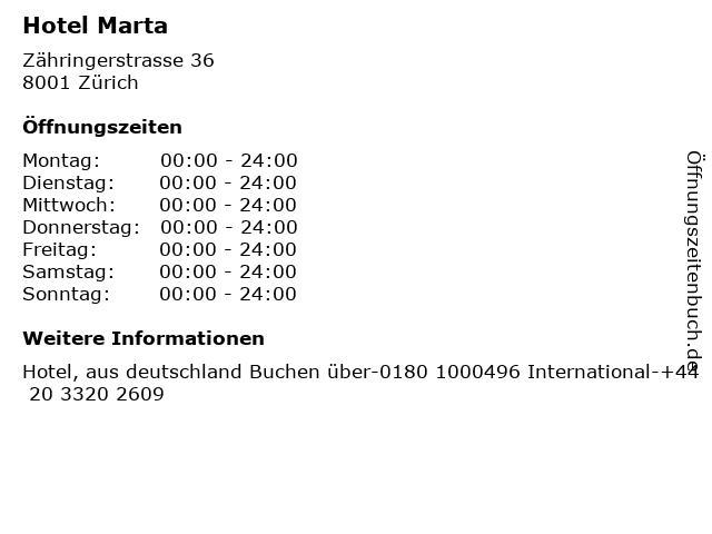 Hotel Marta in Zürich: Adresse und Öffnungszeiten