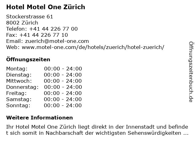 Hotel Motel One Zürich in Zürich: Adresse und Öffnungszeiten