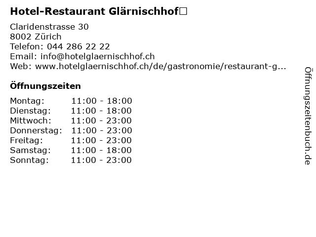 Hotel-Restaurant Glärnischhof in Zürich: Adresse und Öffnungszeiten