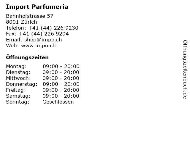 Import Parfumeria in Zürich: Adresse und Öffnungszeiten