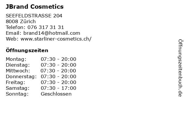 JBrand Cosmetics in Zürich: Adresse und Öffnungszeiten