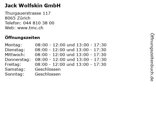 Jack Wolfskin GmbH in Zürich: Adresse und Öffnungszeiten