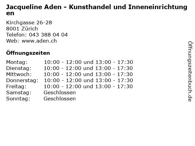 Jacqueline Aden - Kunsthandel und Inneneinrichtungen in Zürich: Adresse und Öffnungszeiten