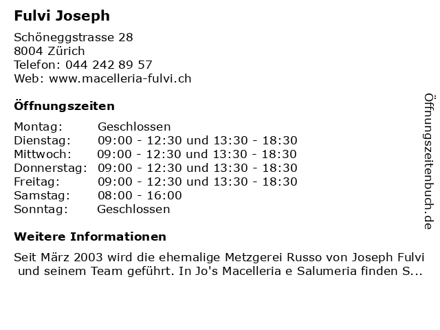 Joseph Fulvi in Zürich: Adresse und Öffnungszeiten