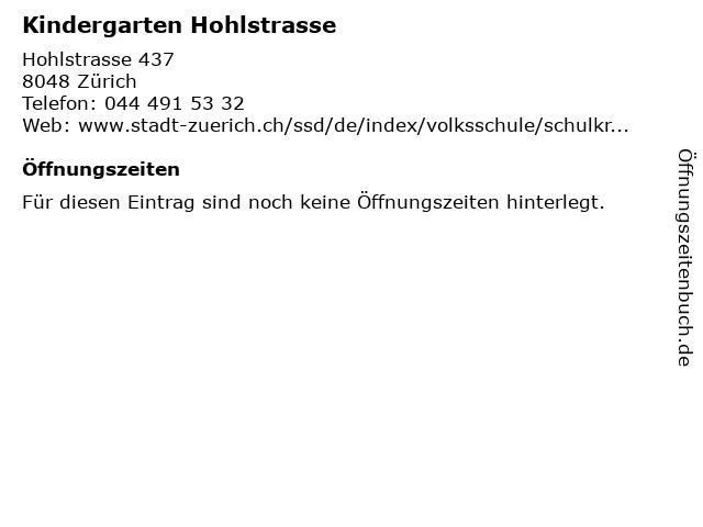 Kindergarten Hohlstrasse in Zürich: Adresse und Öffnungszeiten